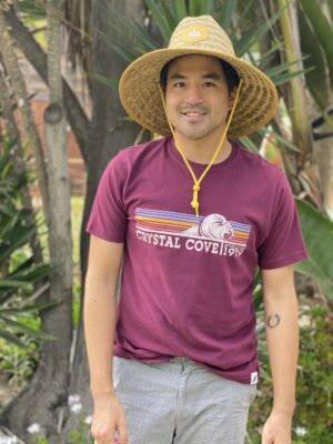 Man wearing Burgundy wave Tee