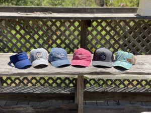 A photo of the six types of hats that are for sale